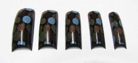 Pre-Designed Tips - Brown & Blue Spots 70pcs HALF WELL