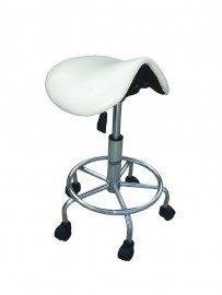 Saddle Chair with Foot Rest - White