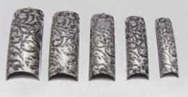Pre-Designed Tips - Silver With Black Flowers 70pcs HALF WELL