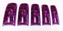 Pre-Designed Tips - Metallic Pink With Flowers 70pcs HALF WELL