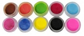 Coloured Acrylic Powder Kit - Glitter 10pcs